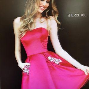 Sherri Hill Short Satin Dress w/pockets